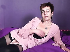 Horny Dutch housewife playing with herself