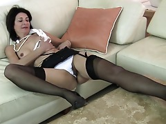 Hairy British housewife frolicking with her pussy
