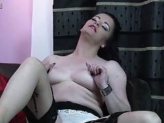 Hot British housewife playing with her wet pussy