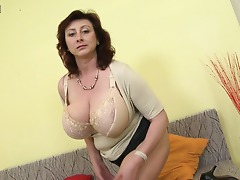 Huge titted housewife Jana loves to play with her furry pussy