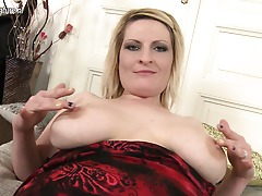Kinky blonde housewife toying with her wet labia